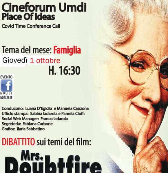 Mrs Doubtfire al Cineforum Umdi